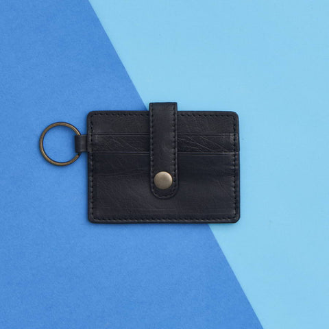 Leather Credit Card Key Ring Black
