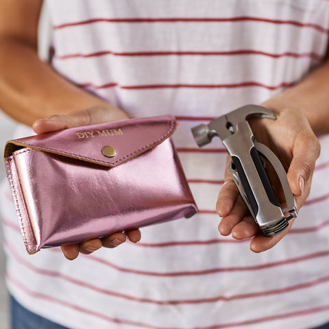 Mums DIY pocket multi tool with holder in metalic pink leather