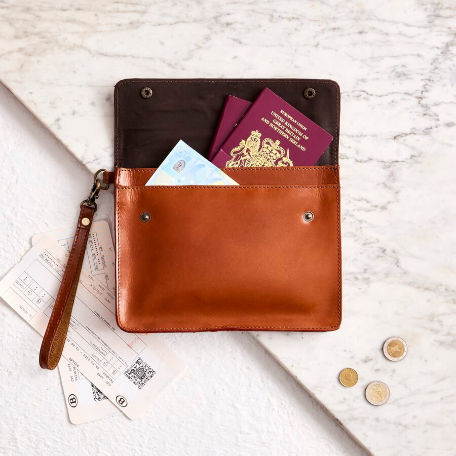 09bf20ab4257 ... Personalised Tan Leather Family Travel Wallet perfect gift ...