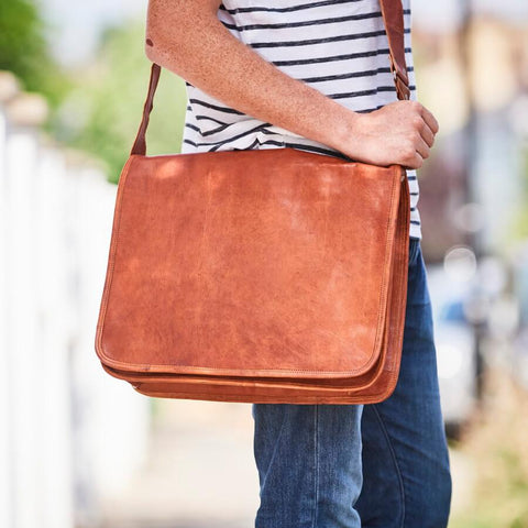 Grande mens leather messenger bag in tan