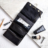 black hanging mens leather wash bag open