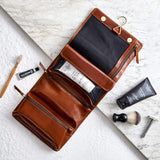 Brown hanging mens leather washbag