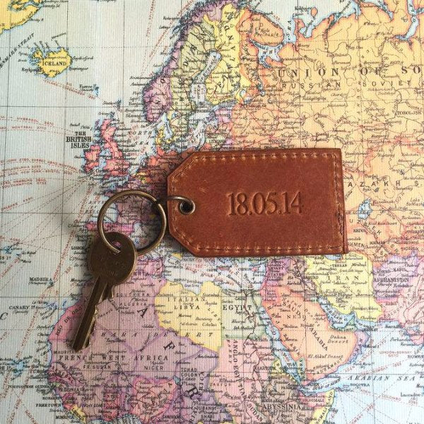 Tan Leather Key Ring Map