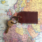 Dark Brown Leather Key Ring Map