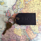 Black Leather Key Ring Map