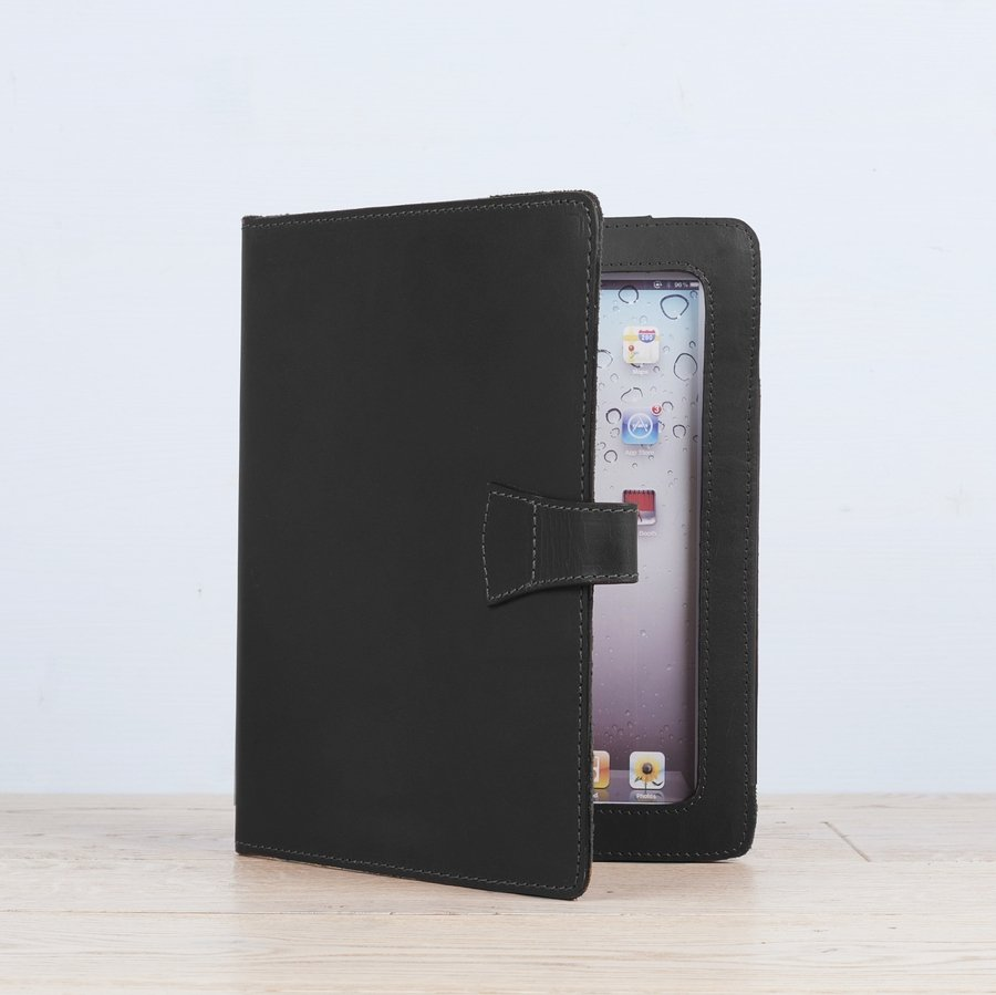 Black Leather iPad Cover With Stand