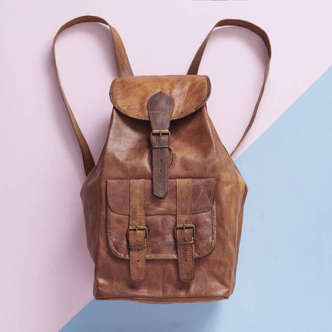 Large Vintage Leather Backpack