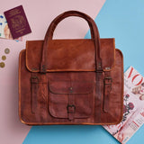 Styled vintage tan leather large weekend bag