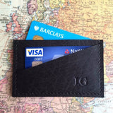 Leather Card Holder Black Contents