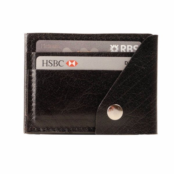 Leather Popper Credit Card Wallet Black