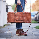 Leather duffle bag with square end
