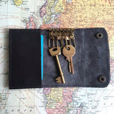 Black Leather Key Holder Open