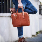Tan delux leather laptop bag briefcase style