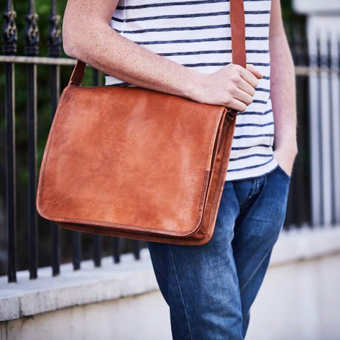 Large leather messenger bag for men in brown/tan