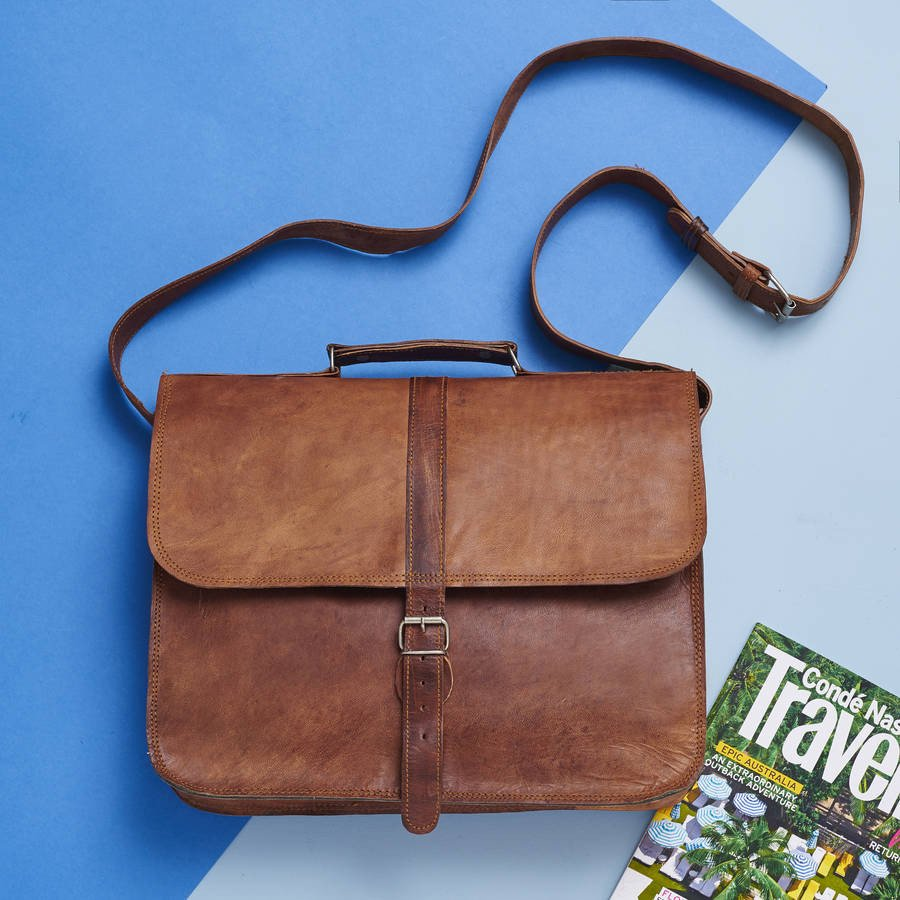 Leather Messenger Laptop Bag
