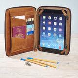 Leather iPad Case Organiser Tan