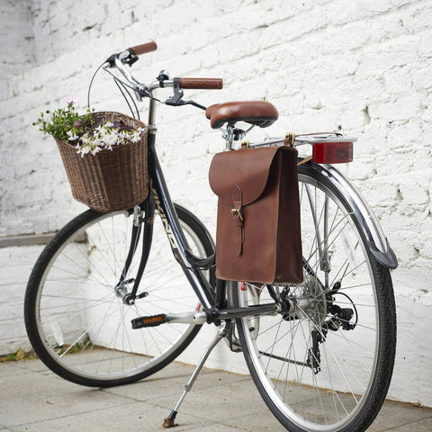 Leather Pannier Bike Bag Brown