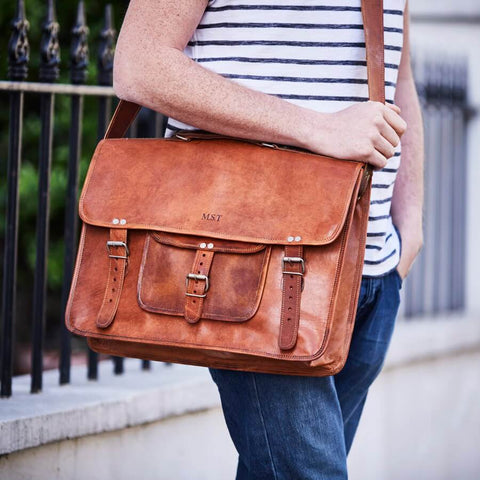 Men's Large Leather Laptop Bag with Handle
