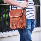 Mens small long leather satchel with personalised embossing