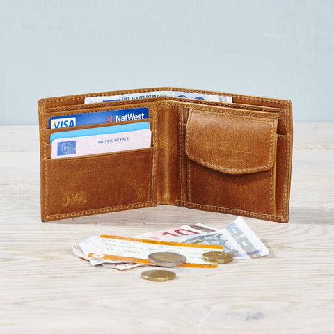 Leather Wallet with Coin Section Tan with coins