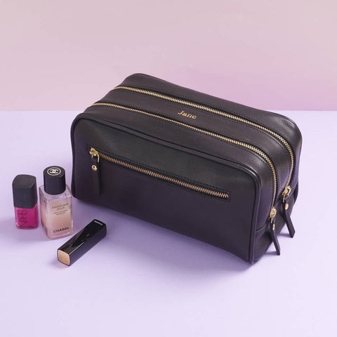 Three Zip Leather Wash Bag Black