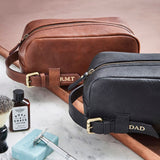 Blakc and brown leather washbags with handle and personalisation