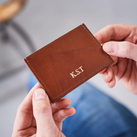 Dark tan leather card holder