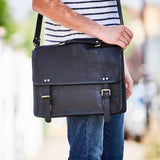 Black luxury leather shoulder bag for men