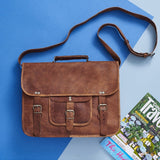 Men's Classic Leather Satchel Laptop Bag
