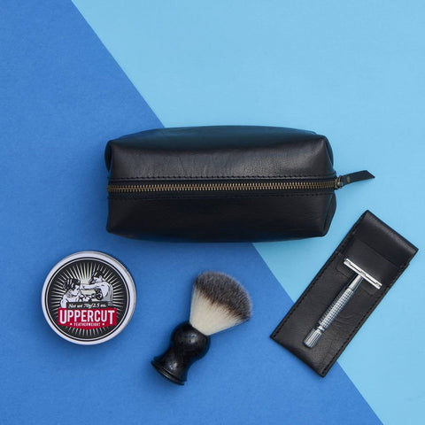 Leather Shaving Bag and Razor cover Black
