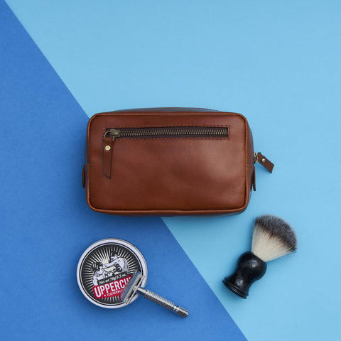 Leather Shaving Kit Bag