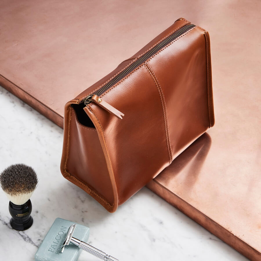 Triangular Leather Wash Bag. Tan leather washbag to be personalised for men 18a0ac59c7240