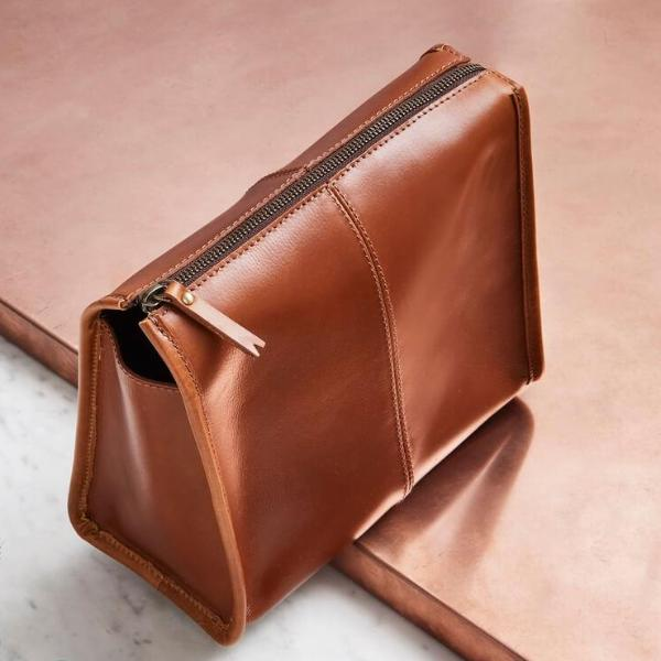 Womens Triangular Leather Wash Bag