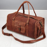 Side View Leather Duffel Weekend Bag