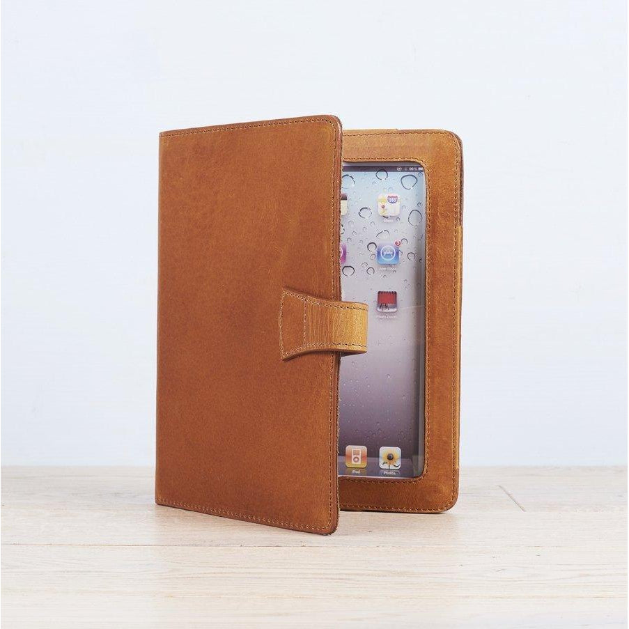 Tan Leather iPad Cover With Stand