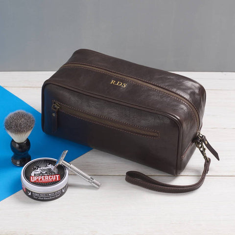 Men's Leather Wash Bag with Strap Dark Brown accessories not included