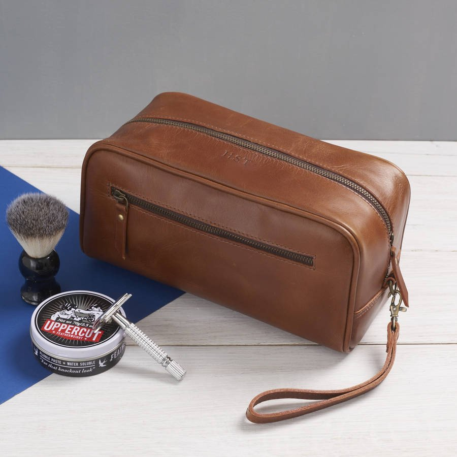Men's Leather Wash Bag with Strap Tan accessories not included