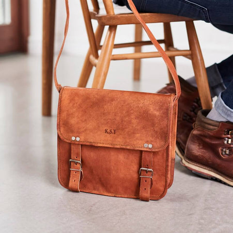Mens leather satchel with embossed personalisation