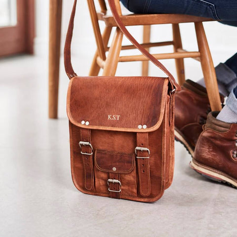 Mens midi long leather satchel with front pocket and initials 8726ece6dc147