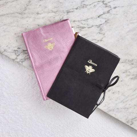 Metalic pink leather notebook