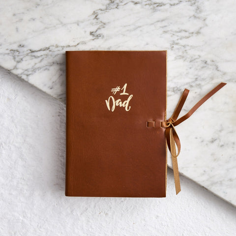 Dads leather notebook in tan