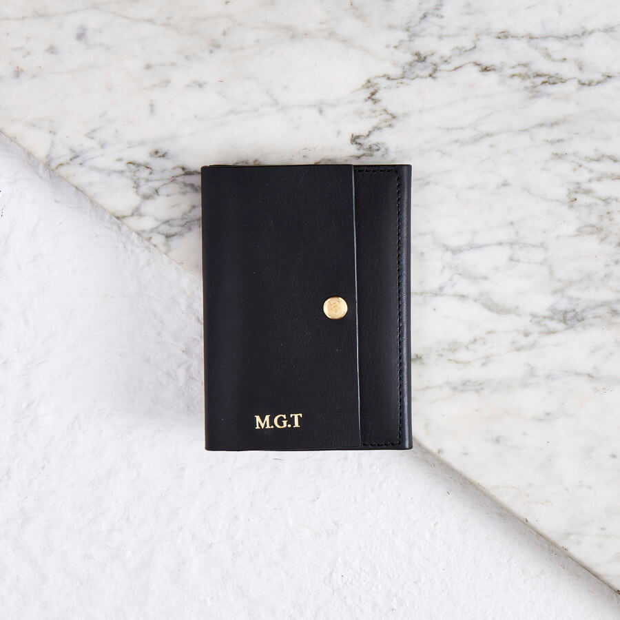 Personalised gift passport cover in black