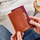Personalised passport cover in tan leather