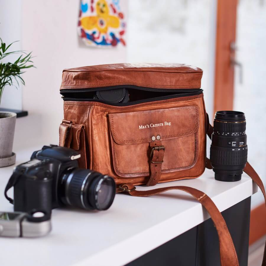 Leather camera carrying case