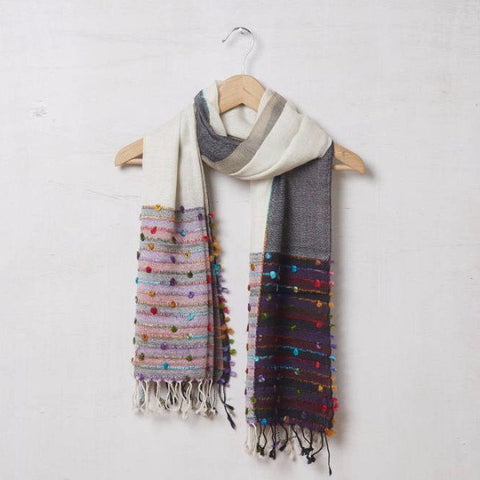 Pure Pashmina Hand Knotted Scarf Cream and Grey