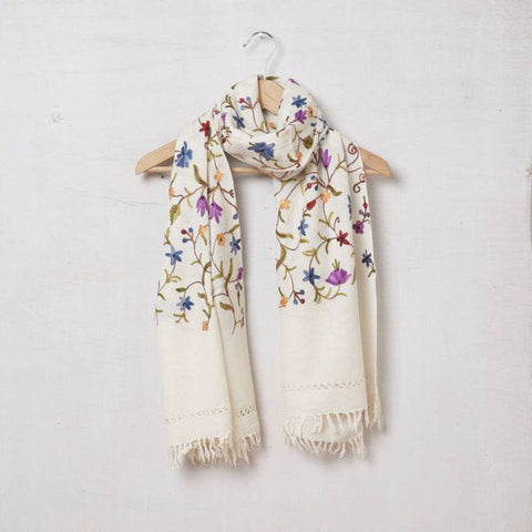 Pure Pashmina Wool Embroidered Scarf Cream