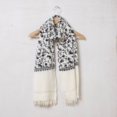 Pure Pashmina Wool Scarf Embroidered Black on Cream 1410