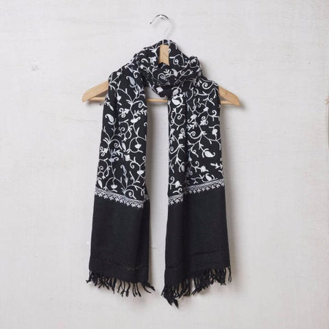 Pure Pashmina Wool Scarf Embroidered White on Black 1411