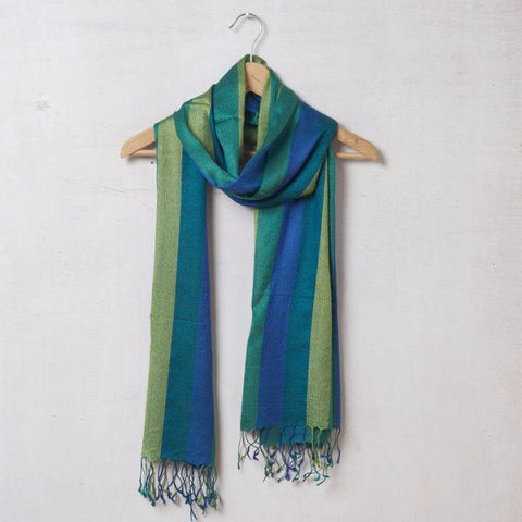 Pure Pashmina Wool Shawl With Blue And Green Stripes 1412