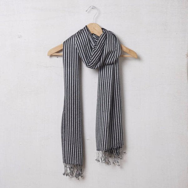 Pure Silk And Pashmina Scarf In Black And Grey Stripe 1420